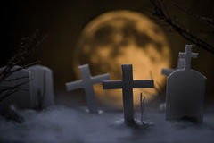 Cemetery and fullmoon Stock Image