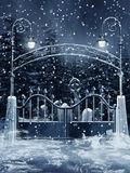 Cemetery gate with snow Royalty Free Stock Images