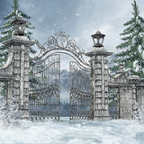 Cemetery gate in a winter forest Stock Images