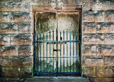 Cemetery Gates. A view of the front entrance to an old crypt in Woodland Cemetery in Dayton, Ohio Stock Photo