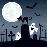 Cemetery with Ghosts, Cat and Bats. Halloween night scene background with the moon over a spooky graveyard with ghosts, a black cat and bats flying. Eps file Royalty Free Stock Photography