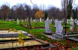 Cemetery gloomy rainy day. Autumn graveyard park at rainy gloomy november day.Varna city.Bulgaria,resting place,evanescence human life concept royalty free stock images
