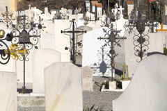 Cemetery with grave stones. Cemetery with marble grave stones royalty free stock photos