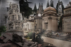 Cemetery - gravestones. Beautiful cemetery - gravestones in Milan, Italy royalty free stock photos
