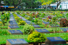 Cemetery graveyard of die military world war two in kanchanaburi Stock Photos