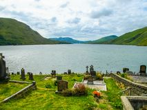 Cemetery Graveyard over looking lake Connemara, Galway, Ireland