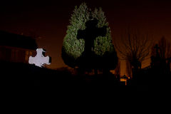 Cemetery graveyard tombstone tree night Royalty Free Stock Photos