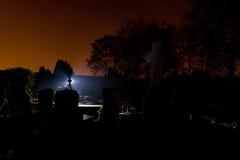 Cemetery graveyard tombstones night Stock Photo