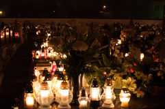 Cemetery - graveyards lit by candle lights Royalty Free Stock Photos