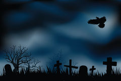 Cemetery or graveyards at night Royalty Free Stock Photo