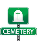 Cemetery grenn street sign. Cemetery street sign isolated over a white background Stock Photo