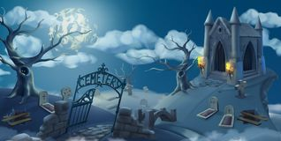 Cemetery, halloween background. 3d vector graphics. Cemetery, halloween background. Cartoon landscape panorama, 3d vector graphics Royalty Free Stock Image