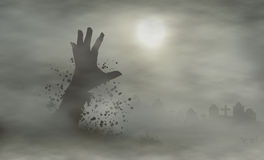 Cemetery hand. Spooky gravestones with hand rising from ground vector illustration