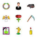 Cemetery icons set, cartoon style Royalty Free Stock Images