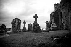 Cemetery in Ireland. Cashel Cemetery, Ireland, Black And White Stock Image