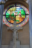 Cemetery La Recoleta. The image shows a Holy cross with figure of crucified Jesus Christ and Stain glass window , La Recoleta, Cemetery Stock Image