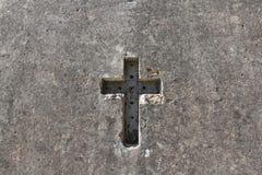 Cemetery La Recoleta. The image shows a cross etched in granite stone, La Recoleta Cemetery Stock Images