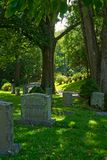 Cemetery and lane in Sleepy Hollow royalty free stock photo