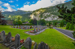 Cemetery in Lauterbrunnen valley, Switzerland Royalty Free Stock Photos