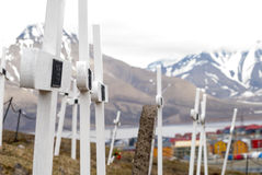 Cemetery in Longyearbyen, Svalbard. Cemetery with white wooden crosses in Longyearbyen, Svalbard, Norway Royalty Free Stock Photo