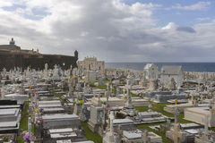 Cemetery Maria Magdalena with Castello San Felipe del Morro. Royalty Free Stock Photography