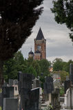 Cemetery and Millennium Tower Zenum Royalty Free Stock Photos