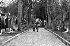 Cemetery. Montmartre Cemetery is a cemetery in Paris, France, it is the third largest necropolis in Paris, after the Père Lachaise cemetery and the royalty free stock image