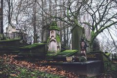 Cemetery Monuments and Tombs in Ghent, Belgium stock photography