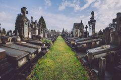 Cemetery Monuments and Tombs in Ghent, Belgium stock photo
