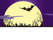Cemetery, Moon and Vampire Bat Royalty Free Stock Photo