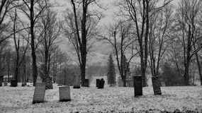 Cemetery in the mountains black and white. A very old cemetery in the mountains of New York State Royalty Free Stock Photo