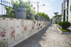 Cemetery niches in the wall. Cemetery walls and niches in the Guayaquil national cemetery, Ecuador stock photo