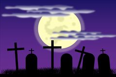 Cemetery at night Royalty Free Stock Photography