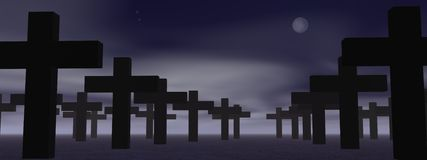 Cemetery by night. Cemetery with lot of crosses by cloudy night with full moon Stock Photo