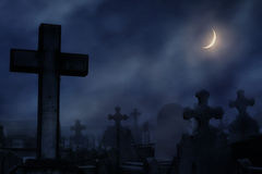 cemetery at the night with moonlight Stock Photography