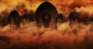 Cemetery At Night With Tombstones With Skulls And Cloudy Sky Ful Stock Photos