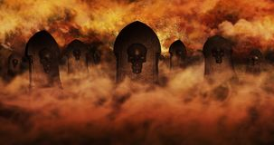 Cemetery At Night With Tombstones With Skulls And Cloudy Sky Ful Stock Photography