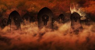 Cemetery At Night With Tombstones With Skulls And Cloudy Sky Ful Stock Image