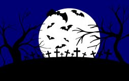 Cemetery at night with trees and bats Royalty Free Stock Photos