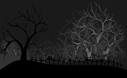 Cemetery at night with trees in grey tones Stock Photos