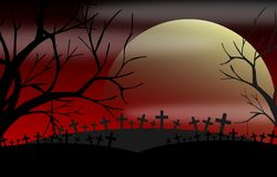 Cemetery at night with trees Royalty Free Stock Photos