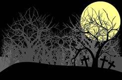 Cemetery at night with trees and moon in grey tones Royalty Free Stock Images