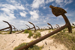 Cemetery of the old anchors. Portugal coast stock image