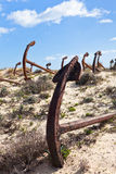Cemetery of the old anchors, Portugal coast Royalty Free Stock Photo