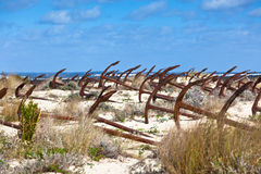 Cemetery of the old anchors, Portugal ocean coast Royalty Free Stock Photography