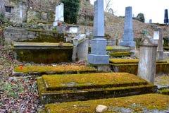 Cemetery. Old medieval saxon lutheran church in Sighisoara, Transylvania, Romania royalty free stock photos