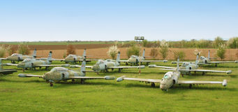 Cemetery of old military aircraft.  Stock Photography