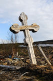 Cemetery - old wooden cross. Royalty Free Stock Images
