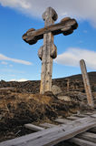 Cemetery - old wooden cross Stock Image