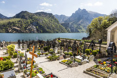 Cemetery at the Parish Church in Traunkirchen Stock Photo